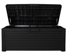 Ondis24 stabile wertige Kissenbox Florida Holz Optik Sitztruhe Auflagenbox anthrazit 550 Liter XXL mit Gasdruckfedern