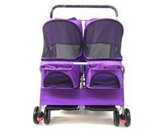 Jlxl Zweisitziger Kinderwagen, herausnehmbares Doppelschlafsofa Car Ultra für leicht zusammenklappbare und waschbare Katzenhunde, die die Pflege erweitern (Color : Purple)