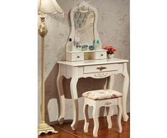 Tisch Schminktisch, Wohnzimmer Tisch, Spiegeltisch, Kosmetiktisch , MDF Holz, mit Spiegel, Frisiertisch, Barock, Weiß MB6002