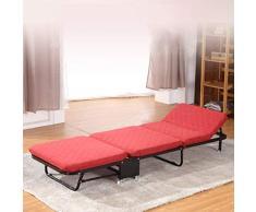 Ppy778 Klappbett Einzelbett Büro-Nickerchenbett Einfache Doppel-Schwamm-Bett Startseite Dreifachgefaltetes Bett Tragbares Schlafsofa Gästebett (Color : RED, Size : 180 * 65 * 26CM)