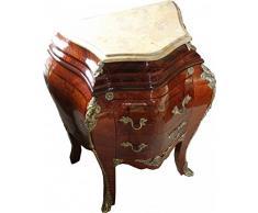 Casa Padrino Barock Kommode Mahagoni Braun mit cremefarbener Marmorplatte - Kommode