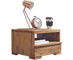 WOHNLING Nachttisch Massiv-Holz Sheesham Nacht-Kommode 30 cm 1 Schublade Ablage Nachtschrank Landhaus-Stil Echt-Holz Nachtköstchen dunkel-braun Nacht-Konsole Natur-Produkt Schlafzimmer-Möbel Unikat