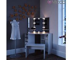 Vicco LED Eckschminktisch Arielle Schminktisch Frisiertisch Kommode Frisierkommode Schminkkommode mit Beleuchtung und Bank