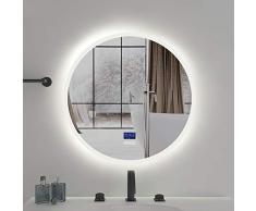 S-AIM Runder rahmenloser Wandspiegel | Anti-Fog Wandkosmetikspiegel | Bad, Waschtisch, Schlafzimmerspiegel, Warm/Weiß