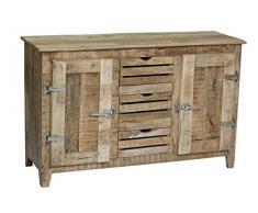 SIT-Möbel 2503-01 Sideboard Frigo, 150 x 45 x 85 cm, Mango-Holz massiv, mit Kühlschrankgriffen, natur lackiert