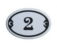 Nummer 2 Mini Emaille Schild Jugendstil ca. 4,2 x 6,2 cm Türschild Zimmer Schublade Schrank Kommode Emailschild oval weiß