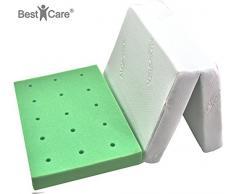 BestCare® - Reisebettmatratze, EU Produkt, kein Laken mehr notwendig, Gesamthöhe 8cm, entzündunshemmender Aloe Vera Bezug, atmungsaktiv mit Lüftungskanälen, Größe:120x60cm
