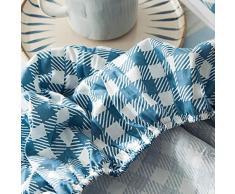 GUANLIDE Baumwolle bettlaken,Spannbetttücher, flaches Stück Baumwolle, Matratzenschoner für Schlafzimmertextilien vertiefenBlau Plaid_100 * 200cm