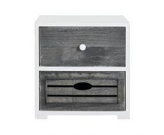 Rebecca Mobili Nachttisch Nachtkonsole 2 Schubladen Holz Grau Weiß Vintage Shabby Badezimmer Schlafzimmer - 30,5 x 30 x 24 cm (H x B x T) - Art. RE4600