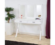 Albatros Designer Schminktisch Anna, Weiß mit Spiegel und 2 Schubladen, Frisiertisch Kosmetiktisch
