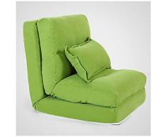 SMC Einzel-Doppelschlafsofa Faltbarer Kreativer Schlafzimmer-Balkon Multifunktionssofa-Stuhl (Color : Green, Größe : 220X60X18cm)