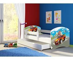 Clamaro Fantasia Weiß Motiv Kinderbett Komplett Set 160 x 80 cm inkl. Matratze, Lattenrost und Bettkasten Unterbett Schublade auf Rollen, Kantenschutzleisten umlaufend, extra Rausfallschutz Seitenteil (verstellbar), Seitenteile: