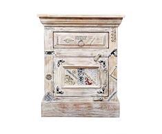Orientalischer Holz Nachttisch Antara Weiß 60cm Hoch | Orient Vintage Nachtkommode orientalisch handverziert | Indischer Nachtschrank auch für Boxspringbett | Asiatische Möbel aus Indien
