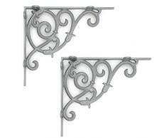 Regalwinkel Regalhalter Regalträger Wandkonsole Konsole Antik Shabby Retro Gründerzeit Regal 23 x 20 cm grau lackiert 2er Set