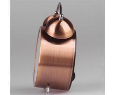 Hense geräuschlose Weckuhr für den Nachttisch Von Batterie angetrieben Nacht-Licht Lauter Alarm Uhren in Farbe von hellem Kupfer Kein Ticken Zifferblatt von verschiedenen Größen HA41 (4.5Römische Ziffern)