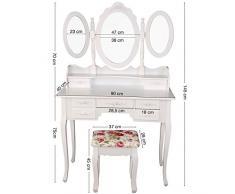 TRESKO® Schminktisch Frisiertisch Frisierkommode Kosmetiktisch Make-up-Tisch mit Kippsicherung, Schminkhocker, neigbarem Schwenk-Spiegel und 2 klappbaren Seitenspiegeln, 7 Schubladen, Holz, weiß