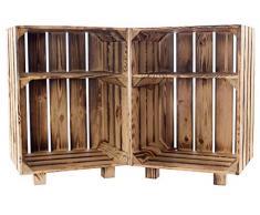 2X Vintage-Möbel24neuer geflammter/flambierter Nachttisch 30,5cm x 40cm x 54cm Nachtschrank Tisch Kiste Nachtkonsole