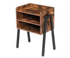 HOOBRO Nachttisch, Beistelltisch, Stapelbarer Nachtschrank mit 2 Ablagen, Nachtkommode im Industrie-Design, stabil, rustikale Holzoptik, Schlafzimmer, Wohnzimmer, Vintage EBF02BZ01