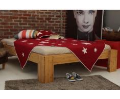 Bett 90x220cm Überlänge, Steckbett metallfrei, Bambus Bett BURMA, Höhe 40cm