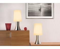Tischleuchte Jannis im 2er Set chrom moderne Nachttischleuchte mit Touch Funktion inklusive Leuchtmittel G9 Eco Halogen 33W