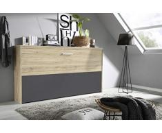 Querklappbett Eiche/lavagrau Klappbett Querklappbett Schrankbett Bett 90x200 NEU