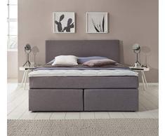 Furniture for Friends Möbelfreude® Boxspringbett Benno | 160x200 cm Hellgrau H2 | mit hochwertiger Bonell Federkernmatratze, Komfortschaum-Topper