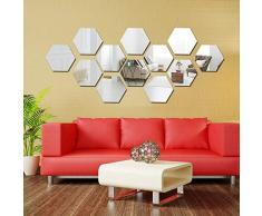 nobranded Schlafzimmerspiegel dreidimensional sechseckig Wandaufkleber Wohnzimmer TV Hintergrund Wand Badezimmer Dekoration Spiegel Aufkleber silber