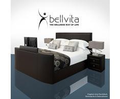SONDERAKTION! bellvita GELBETT mit ECHTLEDER-Bettrahmen und versenkbarem Flat-TV inkl. Lieferung und Aufbau durch Fachpersonal, 200cm x 220cm (dunkelbraun)