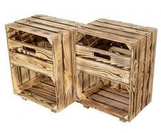 moooble Sparpaket Neuer geflammter/gebrannte Nachttisch mit Schublade 30,5cm x 40cm x 54cm Nachtschrank Beistelltisch(2er Set)