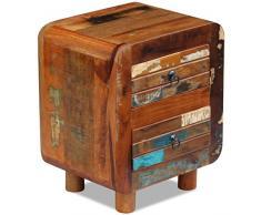 Nishore - Massivholz Nachtschrank im Antik-Stil | Nachttisch Nachtkommode Kommode mit 2 Schubladen für Wohnzimmer Schlafzimmer 43 x 33 x 51 cm (L x B x H)
