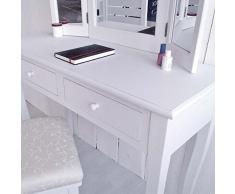 Frisierkommode Schminktisch MADRID, Weiß, 3 große Spiegel, 2 Schubladen
