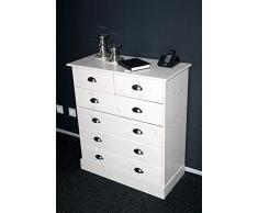Steens Furniture 3400130013000F Kommode Nola, 91 x 82 x 38 cm, Kiefer massiv, weiß