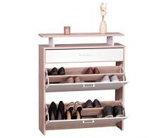 WOHNLING Schuhschrank MDF Sonoma Eiche 80 cm breit Schuhregal Design Schuh-Kommode modern Sideboard stylisch Schuhablage schmal Flurmöbel platzsparend rechteckig Schuhkipper zweifarbig geschlossen