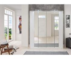 lifestyle4living Kleiderschrank in weiß | Drehtürenschrank, 4-türig, Falttürenschrank mit Spiegeltür ca. 183 cm