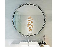 Mnjin Schminkspiegel, Schmiedeeisen, Metall, rund, Badezimmerspiegel, Schlafzimmerspiegel, Schminktisch, Wanddekoration, 4 Stück, Schwarz, 40 cm