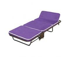 Klappbett Mittagspause Klappbett Einzelbett Siesta Bett Holzbett Dreifachgefaltetes Schwammbett Büro Doppelschlafsofa Reise Tragbares Bett (Color : Purple, Size : 180 * 65 * 25CM)