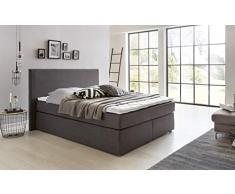 Furniture for Friends Möbelfreude® Boxspringbett Benno | 160x200 cm Anthrazit H2 | mit hochwertiger Bonell Federkernmatratze, Komfortschaum-Topper
