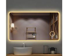 NJYT LED Badezimmer Wandspiegel, Anti-Fogging Und Bluetooth Beleuchteter Schlafzimmerspiegel Mit Touch-Schalter 5mm Explosionsgeschützter Spiegel (Size : 80CMx130CM)