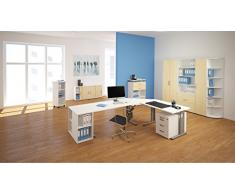 Gera Möbel Schranksystem Flex Flügeltürenschrank, Drehtürenschrank, Holzdekor, Ahorn/Weiß, 80 x 42 x 75.2 cm