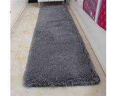 ZMIN Verdickt Shaggy Teppich Für Schlafzimmer,super Weich Fluffy Bereichs-wolldecke Hochflor Fußmatten Wohnzimmer Bay-Fenster Balkontür Nachttisch Matte-grau 50x200cm(20x79)
