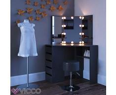 Vicco Eckschminktisch Arielle - Schminktisch mit LED-Beleuchtung Kosmetiktisch Frisierkommode Frisiertisch Schminkspiegel (schwarz)