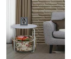 Style home Beistelltisch Runder Couchtisch mit Stoffkorb Aufbewahrungskorb Kaffetisch Nachttisch für Wohnzimmer Schlafzimmer, Blumenmuster Holz und Metall Weiß SH27M11007-WIE