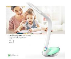 WILIT® H2 12W bunte dimmbare Schreibtischlampe LED, Tischlampe mit Schwanenhals, Nachttischlampe mit Touchfeld, Farblicht und 3 Helligkeitsstufen, weiß