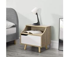 [en.casa] Beistelltisch Holz-furniert Kommode mit Staufach Nachttisch Retro Nachtschrank mit Schublade Eiche-Optik/Weiß