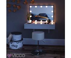 Vicco Schminktisch Alessia Weiß wandhängend mit Bank - Frisiertisch Kommode Spiegel +++ Schminkkommode mit großen Schubfächer und riesigen Spiegel +++ (mit LED)