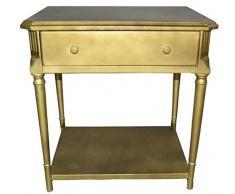 Casa Padrino Art Deco Nachttisch mit Schublade Gold - Antik Stil Beistelltisch - Nachtkommode - Nachtschrank
