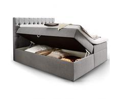 Moebella Boxspringbett mit Bettkasten H3 Webstoff Grau XXL Stauraum Chester Topper Taschenfederkernmatratze Knopfheftung (160 x 200 cm)