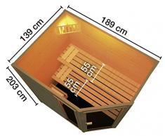 WEKA Massivholzsauna »Lars Eck 1«, B/T/H: 187/137/203,5 cm, 38 mm, 6-KW-Ofen mit int. Steuerung 6-KW-Ofen mit interner Steuerung