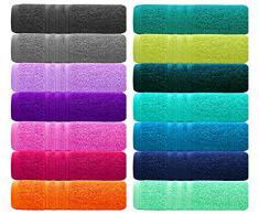 Lashuma Gäste WC Handtuchset - London Badtextilien 30x50 - Baumwolltücher Farbe: Aubergine Lila, 4er Packung Gästetuch