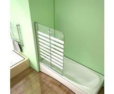 Duschabtrennung Badewannenaufsatz 120x140cm Badewannenfaltwand Querstreifen Duschwand Badewanne Faltbar Milchglas 6mm NANO Sicherheitsglas Links